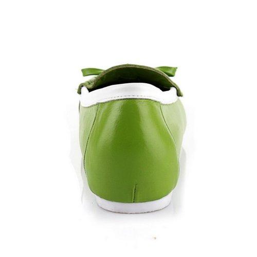 Voguezone009 Mocassini Donna In Pelle Di Mucca Con Chiusura A Bottoni Tondi Colore Verde Chiaro Con Fiocco E Puntini Verdi