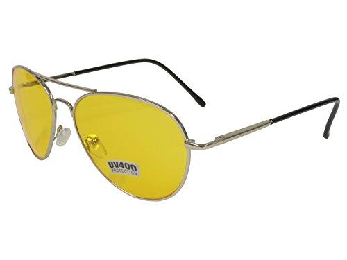 Aviator Sunglasses Chrome Frame - G&G Yellow Amber Night Driving Lens Aviator Sunglasses Chrome Frame Spring Hinge
