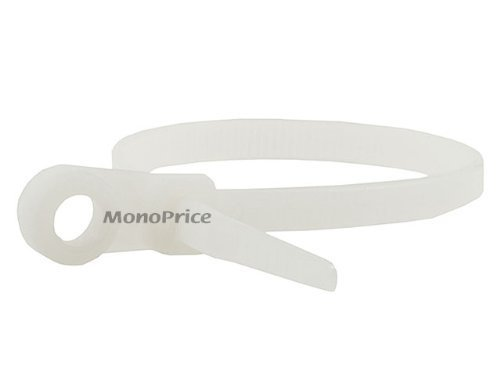 Mountable head Cable Tie 8 inch 40LBS, 100pcs/Pack - White