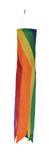Hoop Diagonal (In the Breeze Rainbow Diagonal Sections - 24 Inch Windsock - Colorful Hanging Decoration - Red, Orange, Yellow, Green, Blue, Purple)