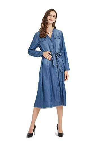 - Tronjori Womens Distressed Long Sleeve V Neck Button Down Denim Shirt Dress with Belt(XL,Blue)