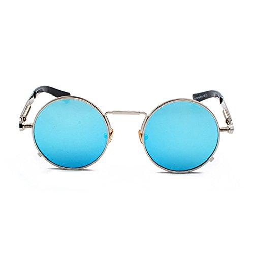 redondas vintage gafas Plateado Gafas primavera Yefree metal señoras gafas las de de Azul ovales de qYUa51