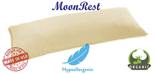 MoonRest Organic Cotton Bed Pillow for Sleeping, Hypo-allergenic Synthetic Down Alternative Filling - Body Pillow Size - 20 X 54
