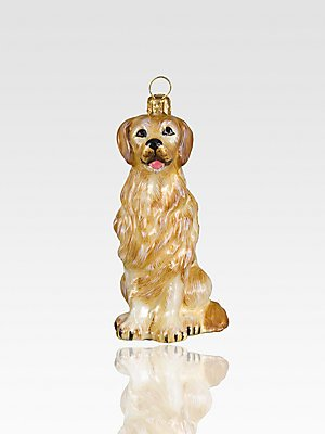 Joy to the World Collectibles European Blown Glass Pet Ornament, Golden Retriever ()