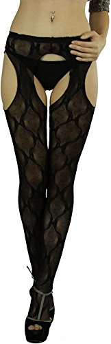 Queen Bow (ToBeInStyle Women's Pantyhose with Lace Bow Suspenders - Black - Queen Size)
