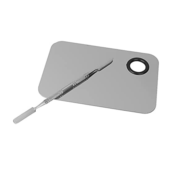 MORE BUY Stainless Steel Cosmetic Makeup Palette Spatula Foundation Mixing Tool (1x Palette and 1x Spatula) (Palettes LR
