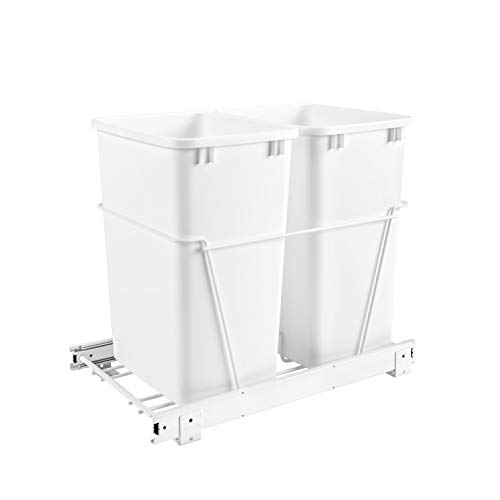 Rev-A-Shelf RV-18PB-2 S Double 35 Quart Sliding Pull Out Kitchen Cabinet Waste Bin Container, White