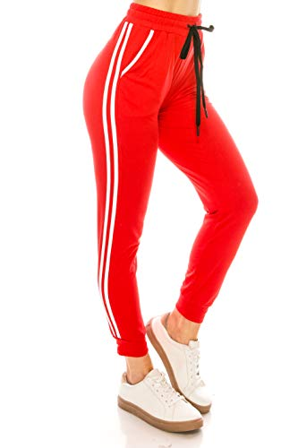 ALWAYS Women Joggers Lounge Sweatpants - Super Light Soft Solid Pockets Drawstrings Line Striped Pants Red White L/XL