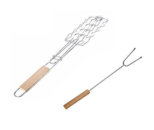 Astra Gourmet BBQ Chrome Plated Iron Wire Extendable Hot Dog Sausage Basket with a Bonus Roasting Stick Skewer