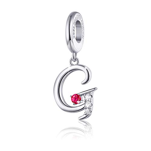 FOREVER QUEEN 925 Sterling Silver G Letter Initial Dangle Beads Charm Red Zircon Alphabet Pendants for Snake Chain Bracelets Necklace Gift Jewelry for ()