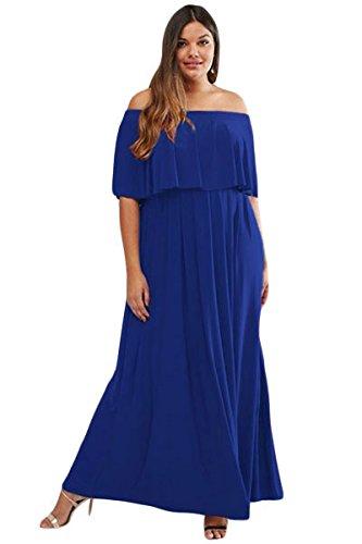 Damen plus Größe Blau Off Schulter Maxi Kleid Sommer Kleid Jersey ...