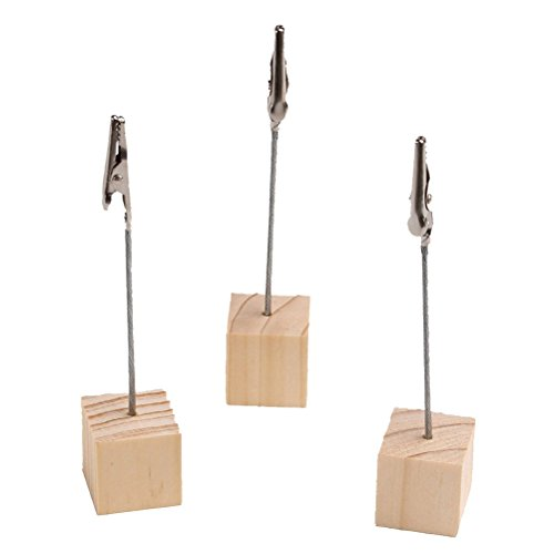 Topxome 20pcs Cube Stand Wire Desk Card Note Picture Memo Photo Clip Holder Table Wedding Table Decoration Favors(wood color)