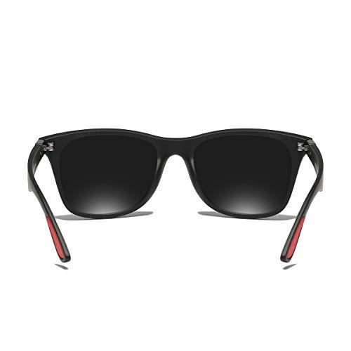 Black Clásico para Gafas y Mujer sol Polarizadas Frame Hombre de BE007 Black Retro Gafas Lens BLEVET I70qwnxCd7