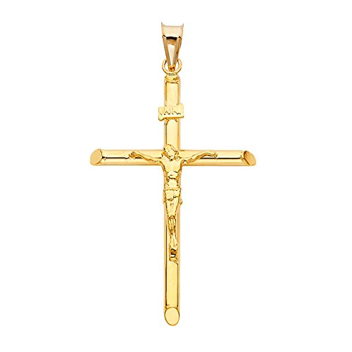 14K Yellow Gold Jesus Engraved Cross Pendant - Crucifix Charm Polish Finish - Handmade Spiritual Symbol - Gold Stamped Fine Jewelry - Great Gift for Men & Women for Occasions, 42 x 28 mm, 1.8 GMS