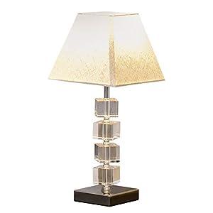 HOMCOM Lampe en Cristal – Lampe de Table Design Contemporain – Ø 20 x 47H cm – Abat-Jour Polyester Blanc Beige