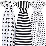 Muslin Baby Swaddle Blankets, 48x48 Black, White, XO, Stripe, Cross by Ziggy Baby