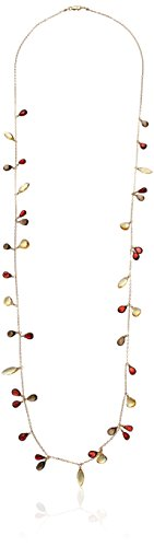 Handmade Gold Filled Cascade Rope with Garnet, Citrine and Smoky Quartz Drops Chain Necklace, 36