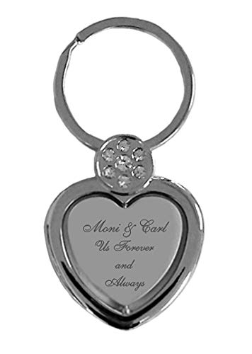 Personalized Silver Heart with Rhinestone Keychain Engraved Free