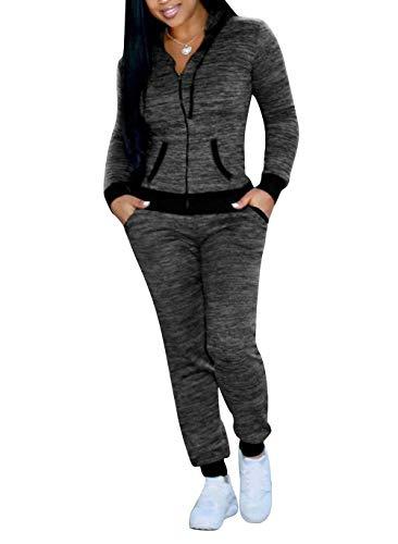 (Tracksuit Sets for Women 2 Piece Sportwear Hooded Running Jogging Jog Set Gray L )