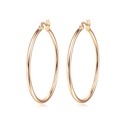 (Carleen Gold Plated 925 Sterling Silver High Polished Round-Tube Click-Top Large/Big Huggie Piercing Hoop Earrings for Women Girls (40, rose-gold-plated-silver))