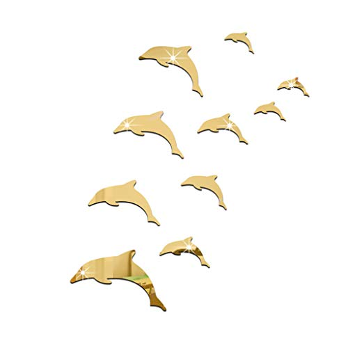 Iusun Wall Stickers 3D Mirror Dolphin Combination Wall Removable Decals for Bedroom Living Room Kids Nursery Bedroom TV Backdrop Mural Mall Art Decoration (Gold) ()
