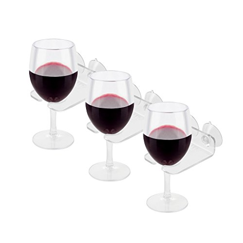 House Ur Home Bathtub Wine Glass Cupholder. Caddy Shower & Relax Bath With Powerful Strong Suction Cups, Set Of (3) Clear Acrylic