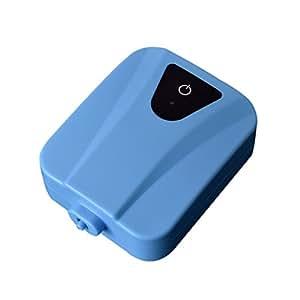 Anself Bomba doble de oxígeno AC/DC para peces de Acuario depósito con piedra tubo flexible de aire, azul