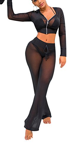 Bluewolfsea Women's Sexy Party Club Mesh See Through Zipper Hoodie Crop Tops and Pants Set Wide Leg Long Pants Jumpsuit Small Black