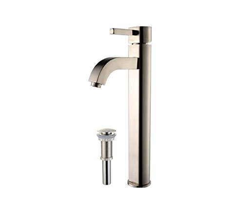 Kraus FVS-1007-PU-10SN Ramus Single Lever Vessel Bathroom Faucet with Matching Pop Up Drain Satin - Nickel Pop Satin