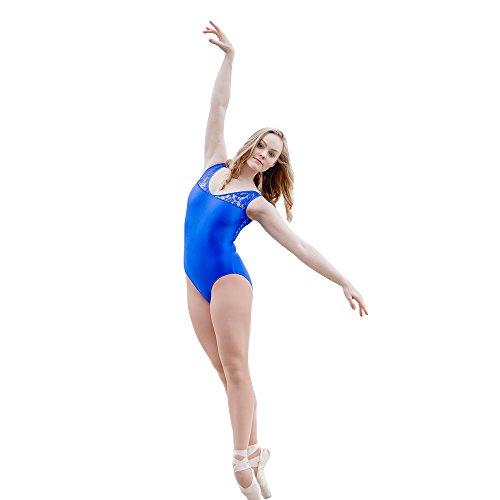 d1ff2f1c2a5e HDW DANCE Adult Tank Ballet Dance Leotard Bodysuit Lace Back Shiny Lycra  (L, Royal
