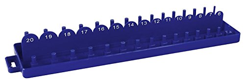 Shop-Tek / C-H ABS Plastic Socket Set Tray Organizer Case with Double Rows (METRIC), 3/8