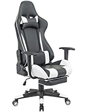 Gaming chair Upl: Combined PVC Arm: Fixed with PU padding Mch: butterfly tilt and can be locked at any position with footrest Gas lift: 100mm black, class 2 Base: 350mm nylon PU castors