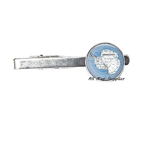AllMapsupplier Charming Tie Clip,Antarctic map Tie Clip Tie Pin,Antarctica map Jewelry,South Pole map,Antarctic map Tie Clip,Antarctic Tie Clip,A0154