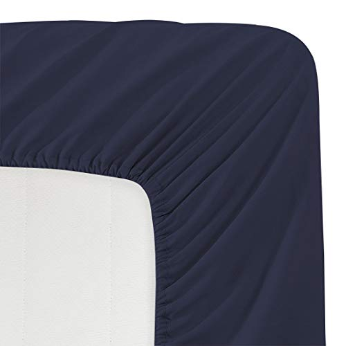 BASIC CHOICE Solid Color Microfiber Deep Pocket Fitted Sheet, California King, Dark Blue (Jersey Fitted Sheet Cal King)