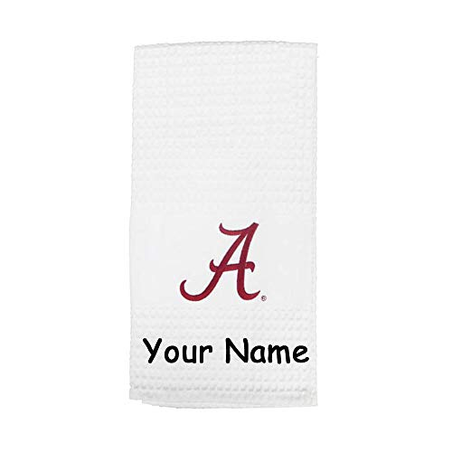 Game Day Outfitters Personalized Officially Licensed University of Alabama Crimson Tide Waffle Design Kitchen Dish Towel with Custom Name