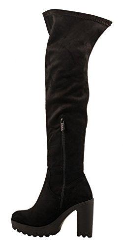 Elara Damen Stiefel | Bequeme Overknee High Heels | Blockabsatz Wildlederoptik| chunkyrayan Schwarz Paris