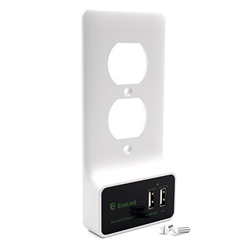 Enstant USB Outlet Wall Plate DIY Cover Plate Replacement with Dual USB Charging Ports, No Wiring Need -