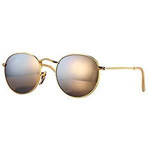 Pro Acme PA3447 Classic Crystal Glass Les Retro Round Metal Sunglasses,50mm (Crystal Silver Mirrored Lens)