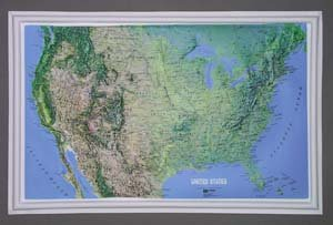 American Educational Products Raised Relief Map K-US2617 U.S. NCR Series 26 Inch x 17 Inch Mainland