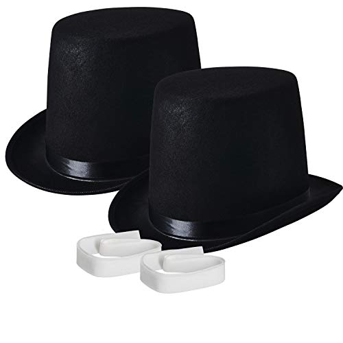 NJ Novelty - Black Top Hat, Tall Party Hat Costume Dress Up Accessory (Black - 2 Pack) Adult Pilgrim Man Hat