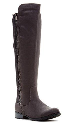 Bucco Sloane Donna Moda Stivali Da Equitazione Grigio / Nero