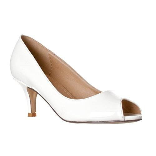 White Kitten Heels - Riverberry Women's Lydia Open Peep Toe Kitten Heel Pumps, White Patent, 6.5