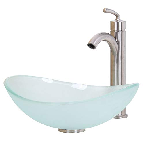 ELITE Unique Oval Frosted Tempered Bathroom Glass Vessel Sink & Brushed Nickel Single Lever Faucet