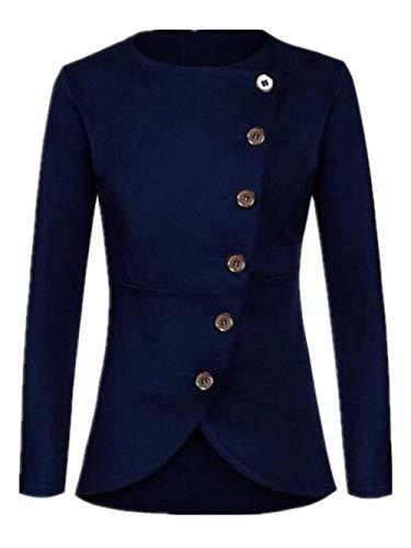 Manteau Femme Printemps Automne Unicolore Jacket lgant Mode Chic Vtements D'Extrieur Classique Casual Manches Longues Simple Boutonnage Slim Fit Jeune Coat Outerwear Bleu