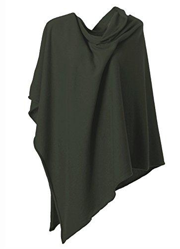 Anna Kristine Asymmetrical 100% Cashmere Draped Poncho Topper - Olive Green