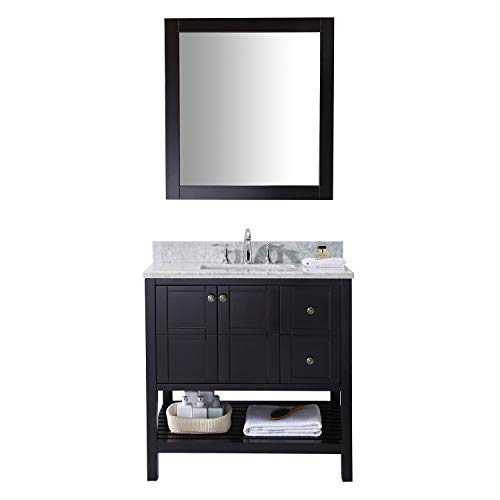 Virtu USA Winterfell 36 inch Single Sink Bathroom Vanity Set in Espresso w/ Square Undermount Sink, Italian Carrara White Marble Countertop, No Faucet, 1 Mirror - ES-30036-WMSQ-ES