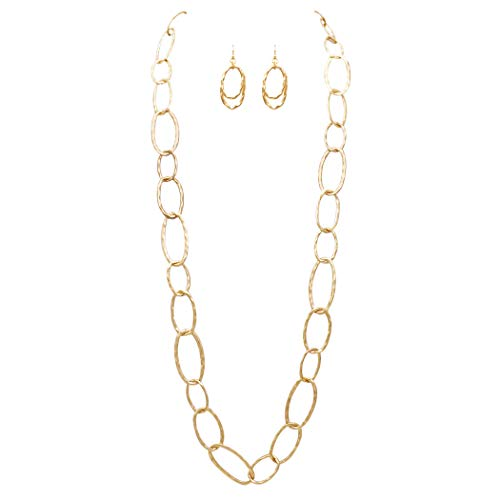 Rosemarie Collections Women's Long Hammered Links Statement Necklace and Earrings Gift Set (Matte Gold -
