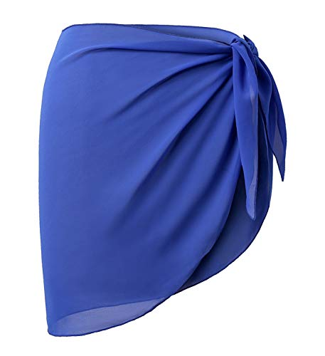 CARDYDONY Women's Short Sarongs Bathing Suit Beach Wrap Skirt Royal Blue Short