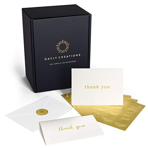 100 Thank You Cards Bulk | Gold Foil Letterpress Thank You Notes with Envelopes & Gold Sealing Stickers | Two Elegant Designs | Perfect for Baby Showers, Weddings, Graduations, Business | Blank Inside by Dayly Creations