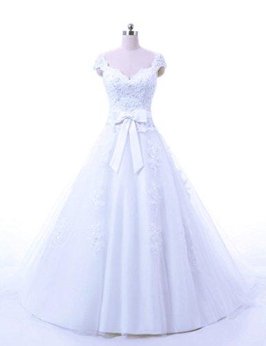 Vantexi Women's Cap Sleeves Princess Wedding Dress Gown White Size 30